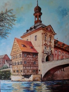 Bamberg Germany, oil, 18 × 20 prints available